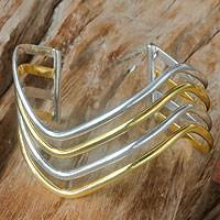 Gold accent cuff bracelet, 'Wakatobi Wave' - Sterling Silver Cuff Bracelet with Gold Accent