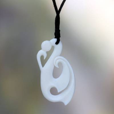 Bone pendant necklace, 'Immortality' - Hand Carved Bone Necklace