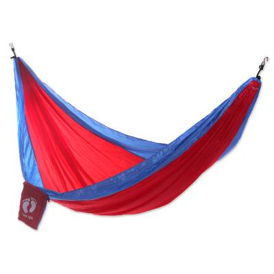 Fiery Red Double Size Parachute Hammock with Hanging Hooks