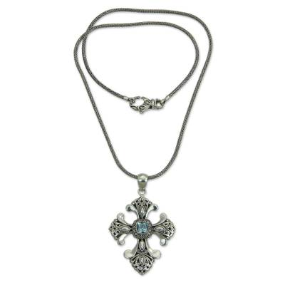 Handmade Balinese Blue Topaz Cross Necklace