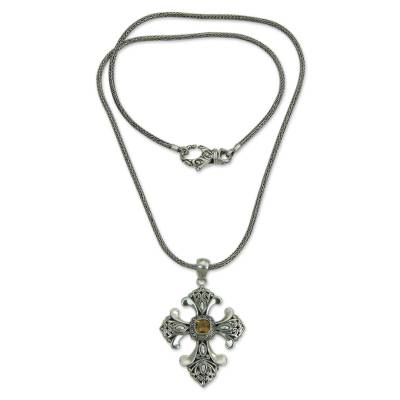 Handmade Balinese Citrine Cross Necklace
