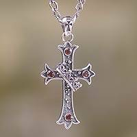 Garnet cross necklace, 'Cross and Crown' - Handmade Garnet Cross Necklace