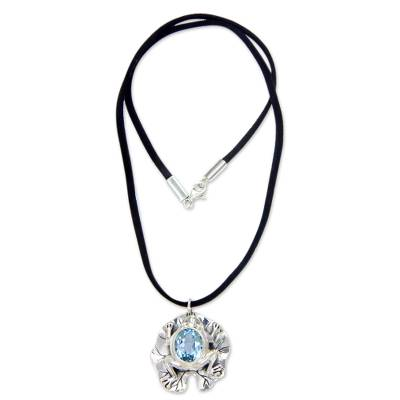 Artisan Crafted Blue Topaz Frog Necklace