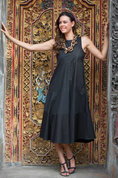 Cotton dress, 'Cool in Black' - Classic Black Sleeveless Midi Cotton Dress from Bali