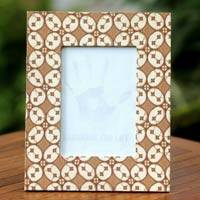 Cotton batik photo frame, 'Java Kawung' - Cotton Batik Handcrafted Photo Frame
