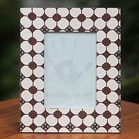 Cotton batik photo frame, 'Kawung Soklat' - Brown White Handcrafted Cotton Batik Photo Frame