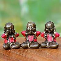 Bronze figurines, 'Three Wise Little Buddhas' (set of 3) - Bronze Buddha Figurines from Java (set of 3)