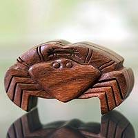 Wood puzzle box, 'Balinese Crab' - Crab Theme Puzzle Box