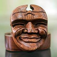 Wood puzzle box, 'Happy Father' - Hand Carved Balinese Puzzle Box