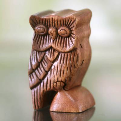 Wood puzzle box, 'The Owl's Secret' - Owl Theme Wood Puzzle Box