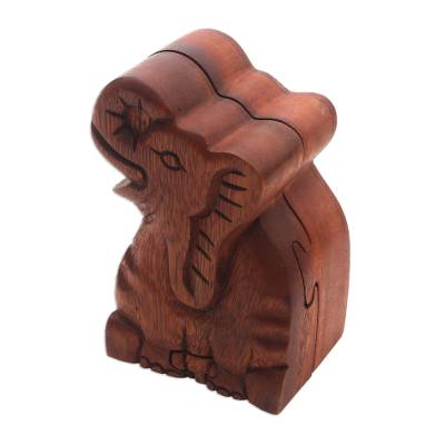 Wood puzzle box, 'Elephant Secret' - Elephant Theme Wood Puzzle Box