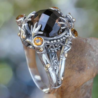 oval columbian emerald ring - Smoky Quartz Sterling Silver Ring with Gold Accents