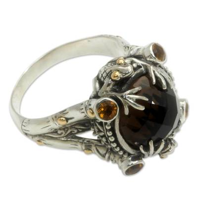 Smoky Quartz Sterling Silver Ring with Gold Accents