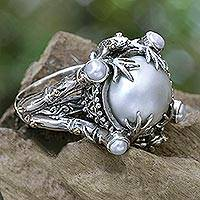 Gold accent cultured pearl cocktail ring, 'Tropical Frogs' - Pearl Sterling Silver Ring with Gold Accents