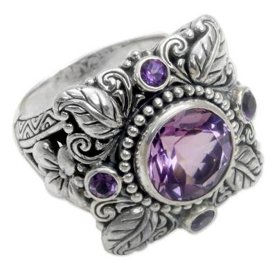 3.4 Carat Amethyst and Sterling Silver Ring