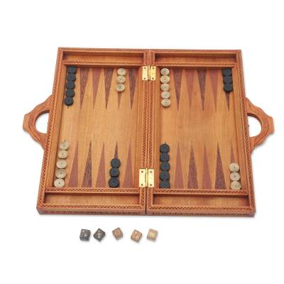 Wood backgammon set, 'Mythic Lovers' - Hand Carved Balinese Romance Backgammon Set