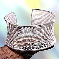 Sterling silver cuff bracelet, 'Infinite Moonbeams' - Balinese Silver Filigree Bracelet