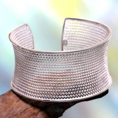 Sterling silver cuff bracelet, Infinite Moonbeams