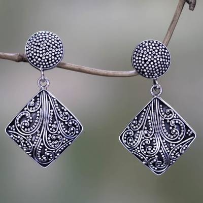 Sterling silver dangle earrings, 'Island Rain' - Silver Granule Earrings