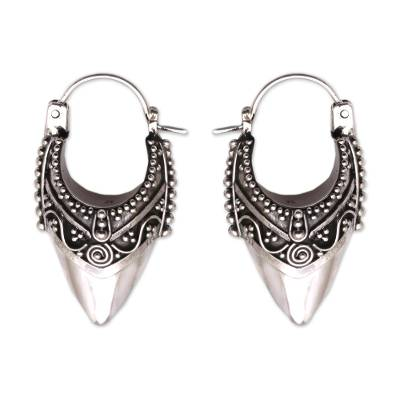 Sterling silver hoop earrings, 'Bali Origin' - Ornate Balinese Hoop Earrings