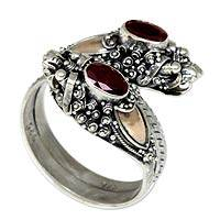 Gold accent garnet wrap ring, Twin Dragon