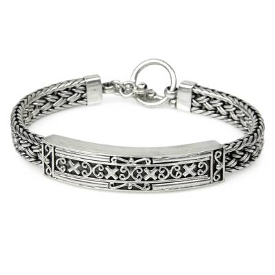 Braided Silver Medallion Bracelet