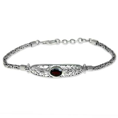 Modern Balinese Garnet Bracelet