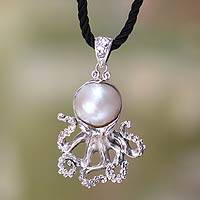 Cultured pearl pendant necklace, 'White Octopus' - Pearl on Sterling Silver Pendant on Silk Necklace