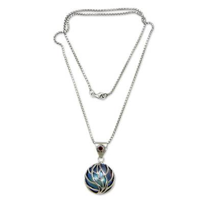 Blue Mabe Pearl Garnet and Silver Handcrafted Necklace