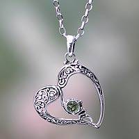Peridot heart necklace, 'Naturally In Love' - Sterling Silver Heart Necklace with Peridot