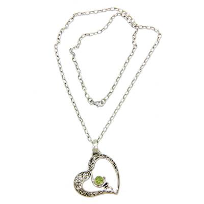 Sterling Silver Heart Necklace with Peridot
