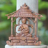 Wood wall panel, 'Solemn Buddha' - Hand-carved Wood Wall Panel Buddhist Sculpture