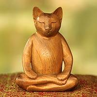 Wood sculpture, 'Ginger Cat Does Yoga' - Lotus Position Yoga Cat Carving