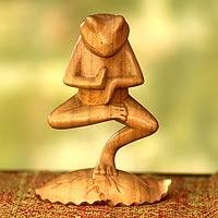 Wood sculpture, 'Yoga Tree Pose Frog' - Hand Carved Animal Theme Wood Sculpture