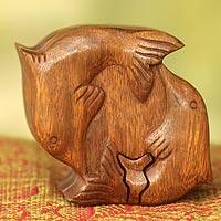 Wood puzzle box, 'Dancing Dolphins' - Hand Carved Balinese Wood Puzzle Box