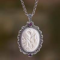 Bone and amethyst pendant necklace, 'Phoenix Charm' - Bone and Amethyst Medallion on Sterling Silver Necklace