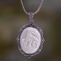 Bone and amethyst pendant necklace, 'Elephant Family' - Sterling Silver Necklace with Bone and Amethyst Medallion