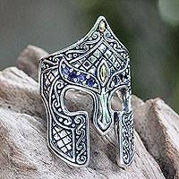 Men's gold accent iolite ring, 'Warrior' - Gold Accent Etruscan Warrior Ring with Iolite