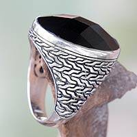 Men's domed ring, 'Midnight Knight' - Men's Onyx Ring