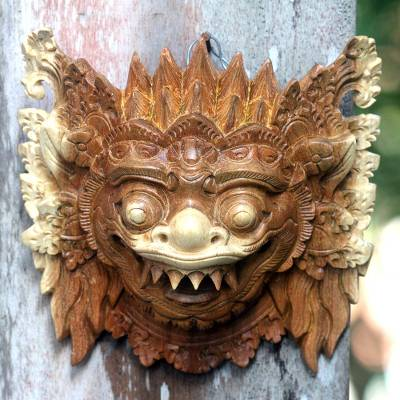 Wood mask, 'Protective Narashima Lion' - Hindu Protector Hand Carved Mask
