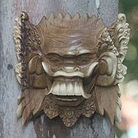 Wood mask, 'Wicked Demon' - Balinese Acacia Wood Celuluk Mask