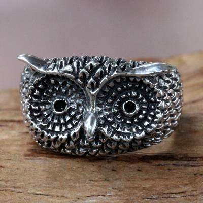 om ring silver oak leaf - Silver Owl Ring