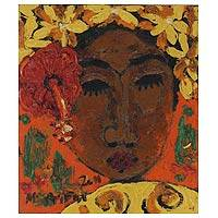 'Dancer's Face II' - Woman With a Flower Fortrait