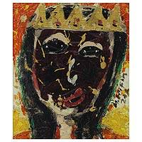 'Queen's Mask' - Expressionist Oil Painting