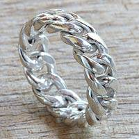 Men's sterling silver band ring, 'Freedom' - Men's Silver Ring