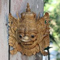 Wood mask, 'Bhoma the Protector' - Balinese Folk Art Hero Mask