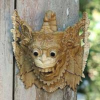 Wood mask, 'Hanoman the White Monkey' - Ramayana Theme Hindu Mask