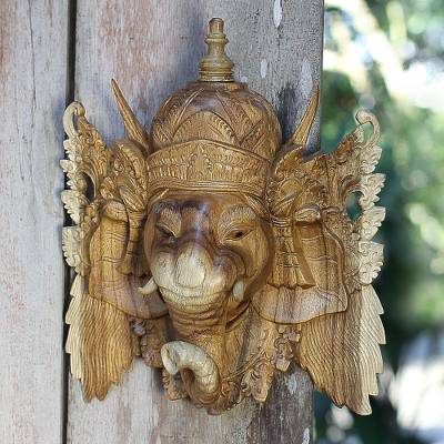 Wood mask, 'Ganesha, Bestower of Happiness' - Balinese Ganesha Mask
