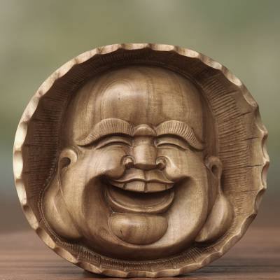 Wood mask, 'Happy Buddha' - Artisan Carved Buddha Mask