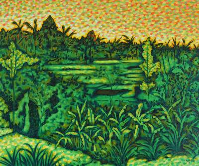 'Landscape in Kelusa' - Original Indonesian Landscape Painting